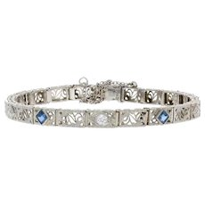 "White Gold & Platinum Synthetic Sapphire & Diamond Art Deco Bracelet 6 1/2"" 14k"