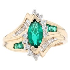 Yellow Gold Synthetic Emerald & Diamond Bypass Ring - 14k Marquise Cut 2.05ctw