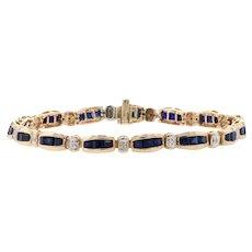 "Synthetic Sapphire Link Bracelet 7 1/2"" -10k Yellow Gold Diamond Accents 7.50ctw"