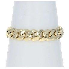 "Yellow Gold Diamond Cuban Chain Men's Bracelet 8 3/4"" - 10k LEO Princess .40ct"