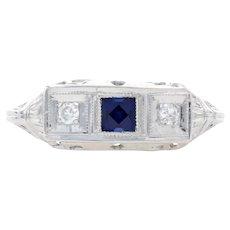 White Gold Synthetic Sapphire & Diamond Art Deco Ring 14k .28ctw Square Vintage