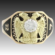 32nd Degree Scottish Rite CZ Cigar Style Band - 14k Gold Ring 8.5 Vintage A+