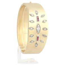 "Retro Bangle 7"" 1.85ctw Genuine Diamond & .60ctw Syn Ruby Bracelet - 14k Gold A+"