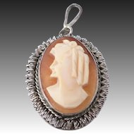 Victorian Cameo Pendant - Carved Shell Vintage Estate Women's Oval Charm