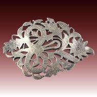 Chunky Vintage Floral Brooch - Sterling Silver Women's Estate Ornate Flower Pin