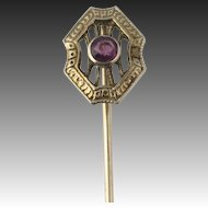 Vintage Amethyst Stickpin 10k White Gold Round Solitaire Purple Gemstone .07ct
