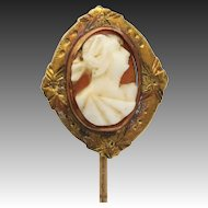 Cameo Stickpin - Carved Shell 10k Yellow Rose Gold Floral Antique Estate