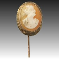 Carved Shell Cameo Stickpin - 10k Yellow Gold Vintage Woman Peach & Cream