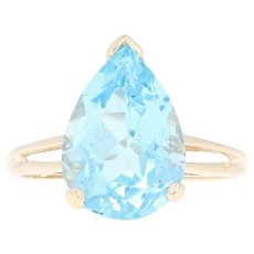 Blue Topaz Cocktail Solitaire Ring - 10k Yellow Gold Pear Brilliant 7.00ct