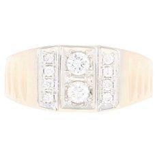 Men's Diamond Ring - 14k Yellow Gold Round Brilliant .50ctw