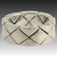 Chanel Matelasse Ring - 18k White Gold Designer High Karat Flexible Size 5.25