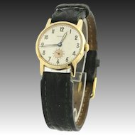Vintage Frenca Hand-Winding Watch - 14k Yellow Gold Green Leather Band Women's