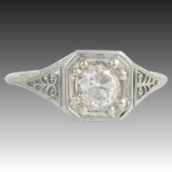 Art Deco Diamond Ring - 18k White Gold Vintage Solitaire Round Natural 1.11ct