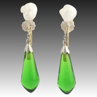 Vintage Keshi Pearls & Green Glass Dangle Earrings - 14k Yellow & White Gold