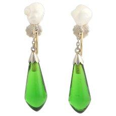 Vintage Keshi Pearls & Green Glass Dangle Earrings - 14k Yellow & White Gold