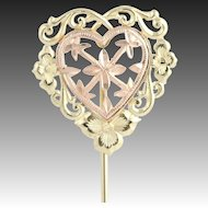 Two-Toned Gold Heart Stickpin - 14k Yellow & Rose Gold Love Fine Estate Pin