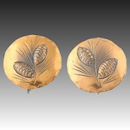 Vintage Pine Cone Earrings - Sterling Silver Copper Screw Back Stuart NYE