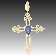 Cross Pendant - 10k Yellow Gold Teardrop Blue Sapphire Diamonds 0.48ctw