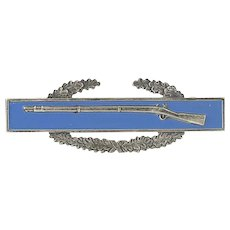Vintage Combat Infantry Badge - Sterling Silver Rifle Wreath Bar Pin US Military