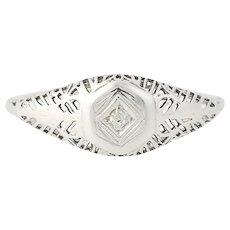 Art Deco Filigree Diamond Ring - 14k White Gold Vintage Women's