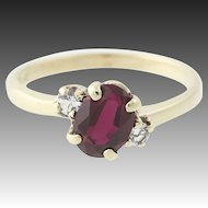 Syn Ruby Bypass Ring White Syn Spinel Accents 10k Yellow Gold 0.92ctw