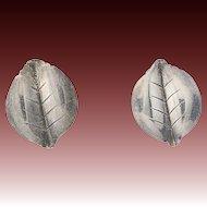 Vintage Danish Leaf Earrings - Sterling Silver VW Fammik Clip On Non Pierced