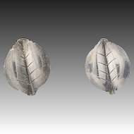 Vintage Danish Leaf Earrings - Sterling Silver VW Fammik Clip On Non Pierced