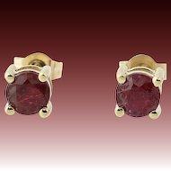 Ruby Stud Earrings - 14k Yellow Gold Pierced Round Brilliant Cut .65ctw