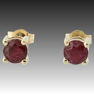 Ruby Stud Earrings - 14k Yellow Gold Pierced Round Brilliant Cut .65ctw