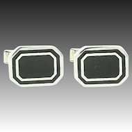 Black Enamel Cufflinks - Sterling Silver Men's Cuff Links Vintage Folding Bar