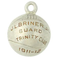 Vintage Basketball Keepsake Charm - Class 1911-1912 Trinity Club Sports Antique
