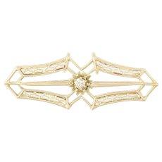 Art Deco Diamond Pendant - 10k Yellow Gold Converted Brooch Women's Keepsake