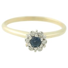 Sapphire And Diamond Ring Yellow Gold 10k September Gift .16ctw