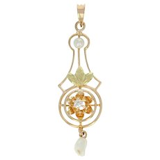 Art Deco Diamond & Pearl Lavaliere Pendant - 10k Yellow Gold Vintage