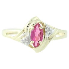 Synthetic Ruby & Diamond Ring - 10k Yellow Gold 0.35ct Marquise Girl Women Gift