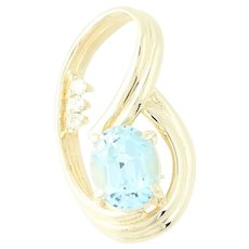 Blue Topaz & Diamond Pendant - 14k Yellow Gold Oval Brilliant 3.59ctw