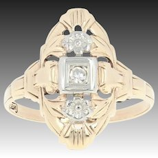 Vintage Floral Ring with Diamond Accent - 10k White & Yellow Gold