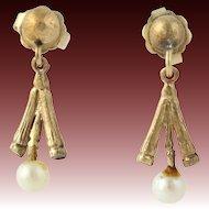 Cultured Pearl Dangle Earrings - Solid 14k Yellow Gold Pierced Women's White
