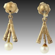 Cultured Pearl Dangle Earrings - Solid 14k Yellow Gold Pierced Women's White