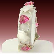 "Vintage Leaf & Pink Glass Heart Bracelet Sterling Silver 925 Women's 7.25"" Chain"