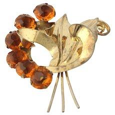 Chunky Vintage Flower Brooch - Sterling Silver Orange Glass Women's Pin Estate