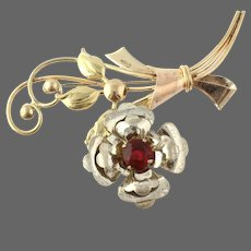 Round Cut Red Glass Vintage Flower Brooch - Sterling & 1/20 10k Gold Bouquet Pin