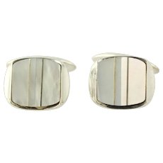 White Mother of Pearl Cuff Links - 800 Silver Vintage Men's Estate MOP