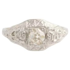 Art Deco Engagement Ring - 18k White Gold Vintage European Cut Diamond .25ct