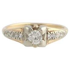 Retro Diamond Engagement Ring - 14k Yellow & White Gold .25ctw