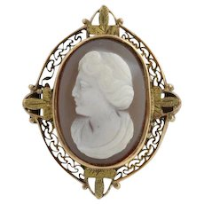 Victorian Carved Hardstone Banded Agate Cameo Brooch - 10k Yellow Gold Pin