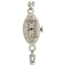 Art Deco Diamond Women's Watch - Platinum Vintage Converted to Quartz .52ctw