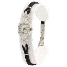 Bulova Vintage Diamond Women's Wristwatch 17.8cm 900 Platinum 0.20ctw Serviced
