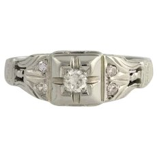 Art Deco Diamond Engagement Ring - 18k White Gold European Cut Genuine .16ctw