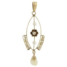 Edwardian Era Lavalier Pendant - 10k Yellow Gold Pearl, Mother of Pearl, Diamond